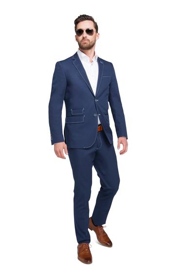 Suitable Kostuum Algodao Donkerblauw