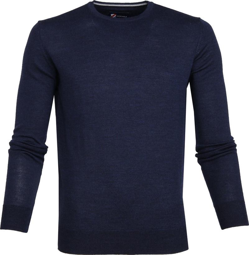 Suitable Merino Pullover O-Hals Navy