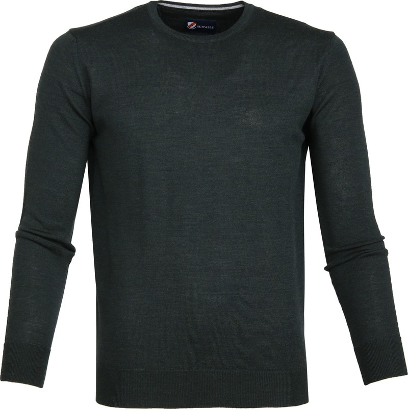 Suitable Merino Pullover R-Neck Dark Green photo 0