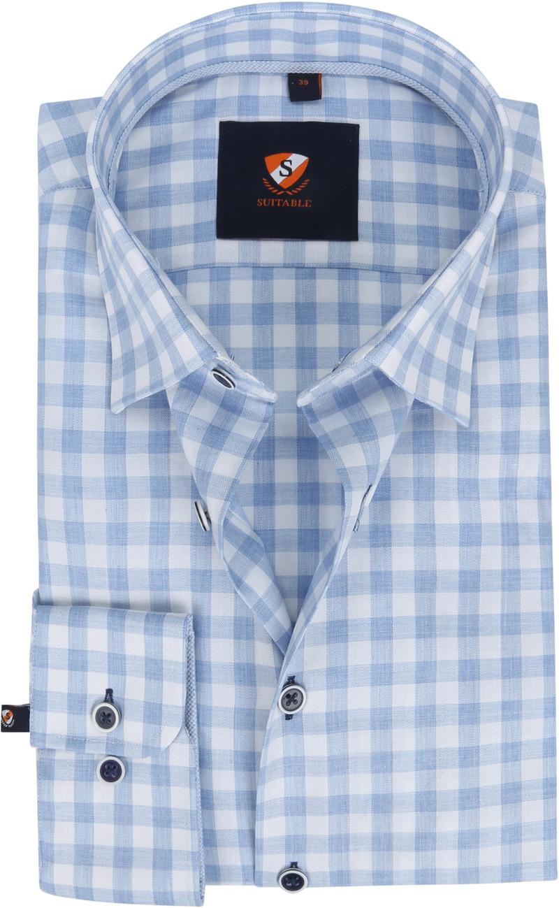 Suitable Overhemd 227-9 Ruit Blauw