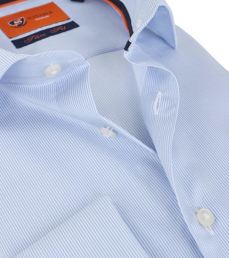 Detail Suitable Overhemd Blauw Gestreept