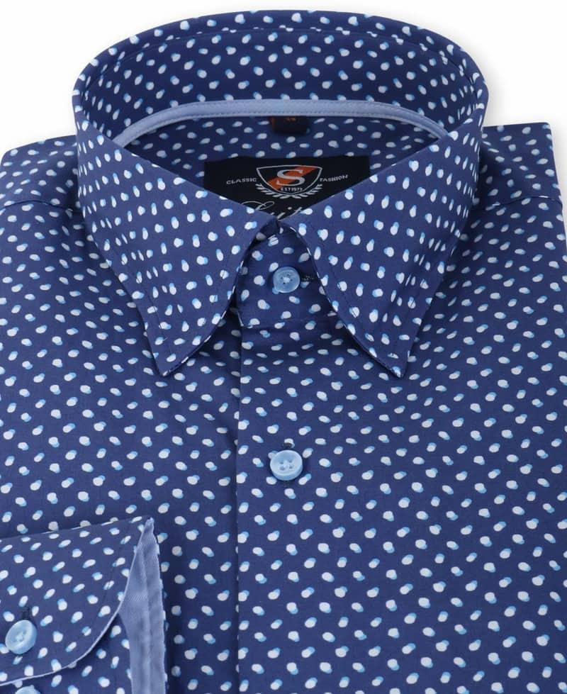 Detail Suitable Overhemd Blauw Print 133-3