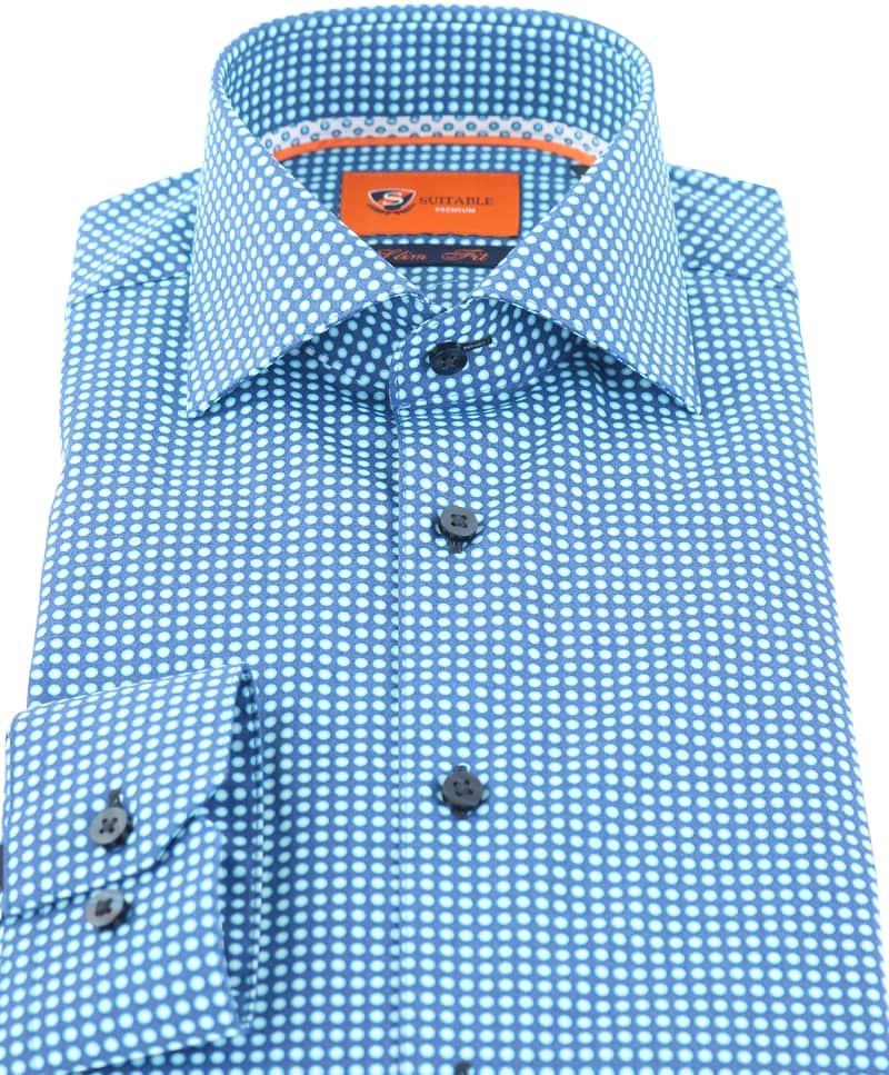 Detail Suitable Overhemd Blauw Print D71-18