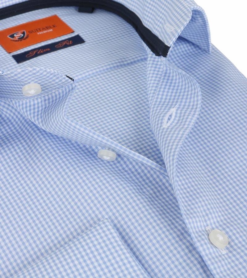 Detail Suitable Overhemd Blauw Ruit