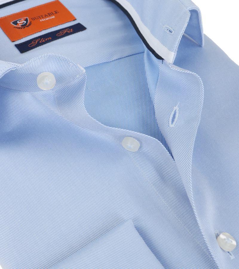 Detail Suitable Overhemd Blauw Twill