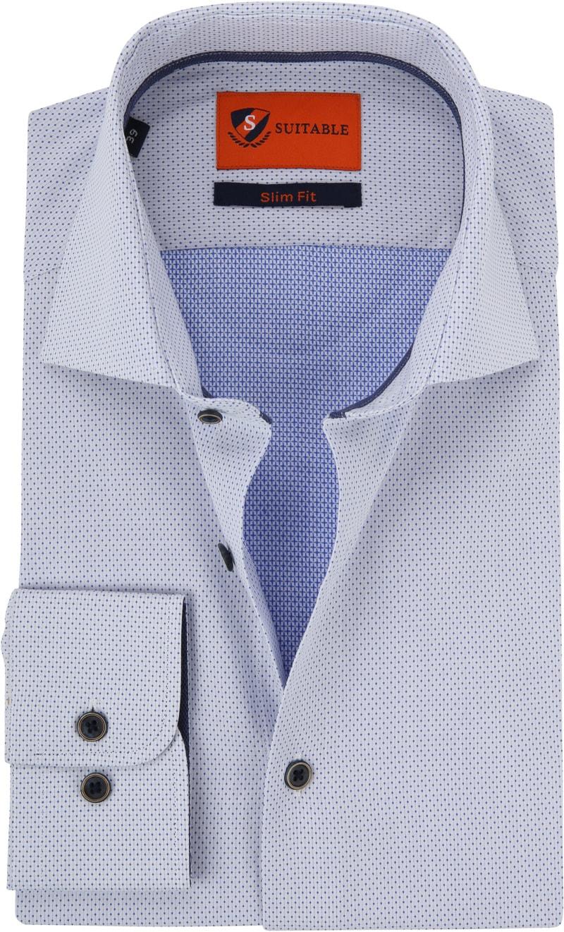 Suitable Overhemd Blauw Wit Wesley foto 0