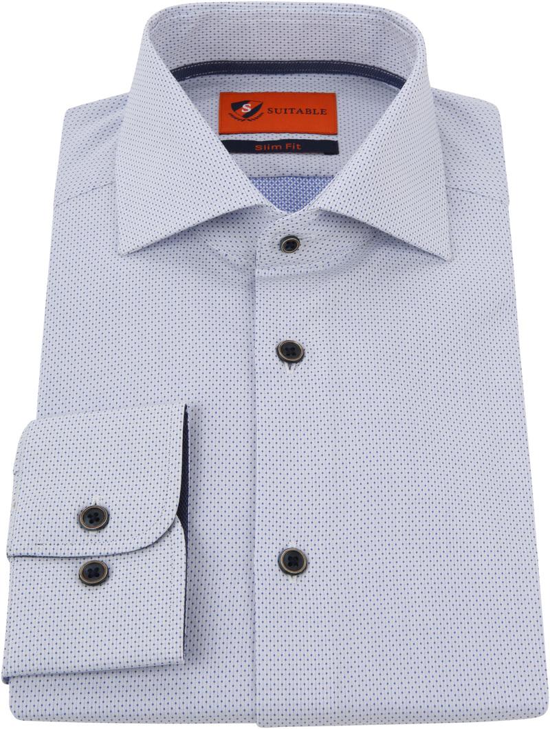 Suitable Overhemd Blauw Wit Wesley foto 2
