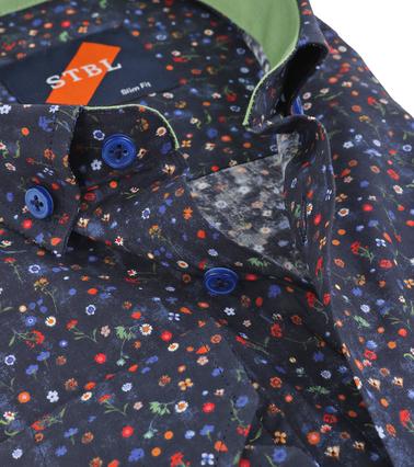 Detail Suitable Overhemd Bloem Navy
