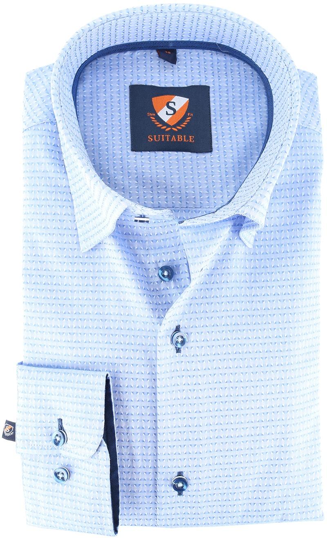 Suitable Overhemd Blue Jacquard 143-2