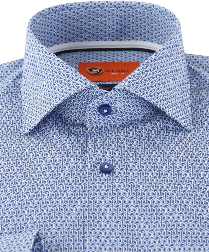 Detail Suitable Overhemd Blue Print