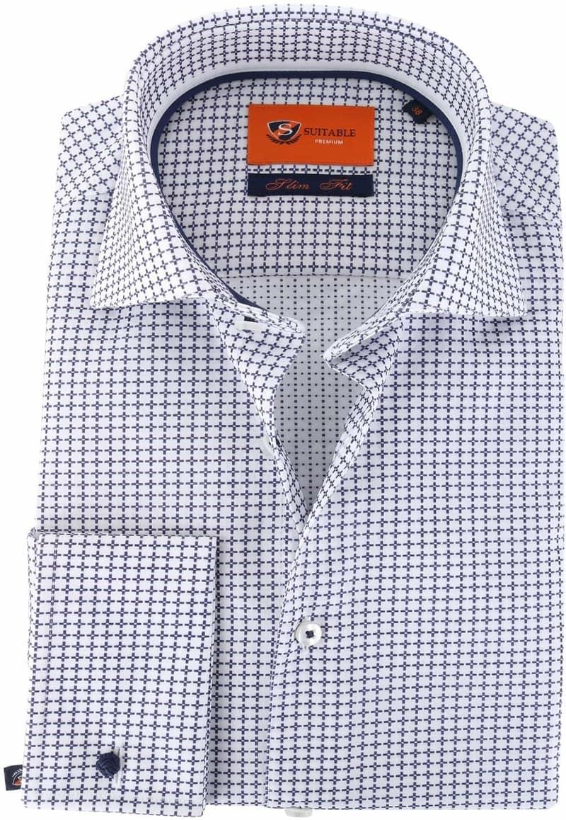 Suitable Overhemd Check Blue Dubbelmanchet