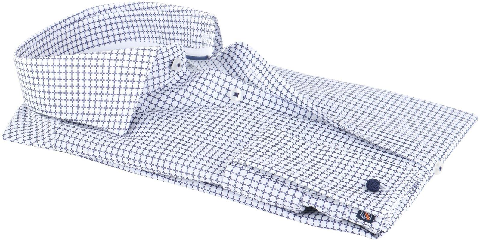 Detail Suitable Overhemd Check Blue Dubbelmanchet