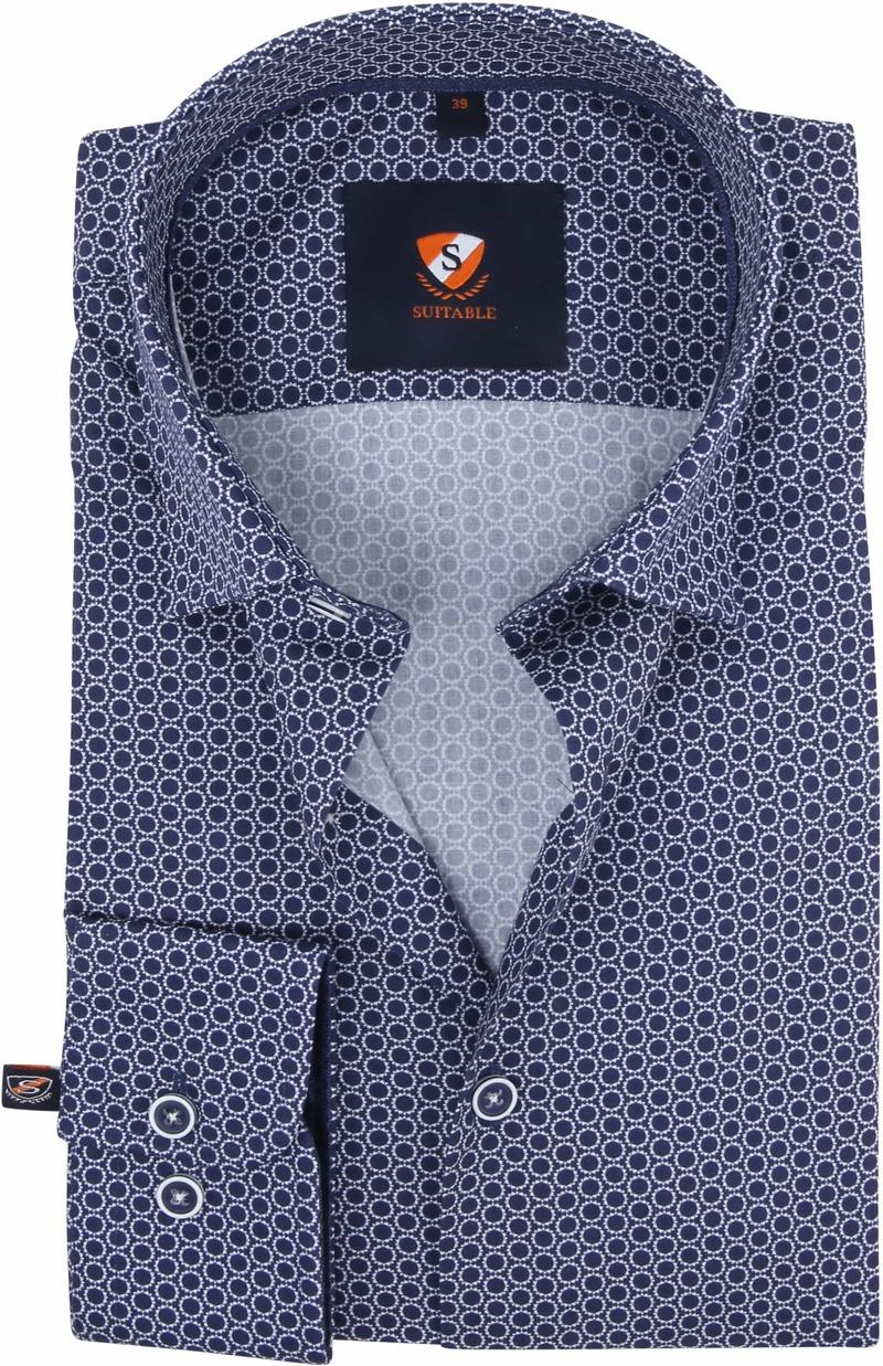 Suitable Overhemd Cirkels Donkerblauw foto 0