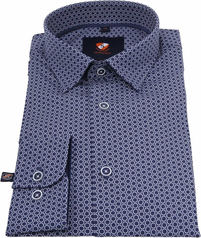 Suitable Overhemd Cirkels Donkerblauw foto 2