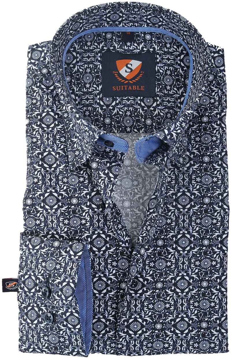 Suitable Overhemd Donkerblauw Print 147-4 foto 0