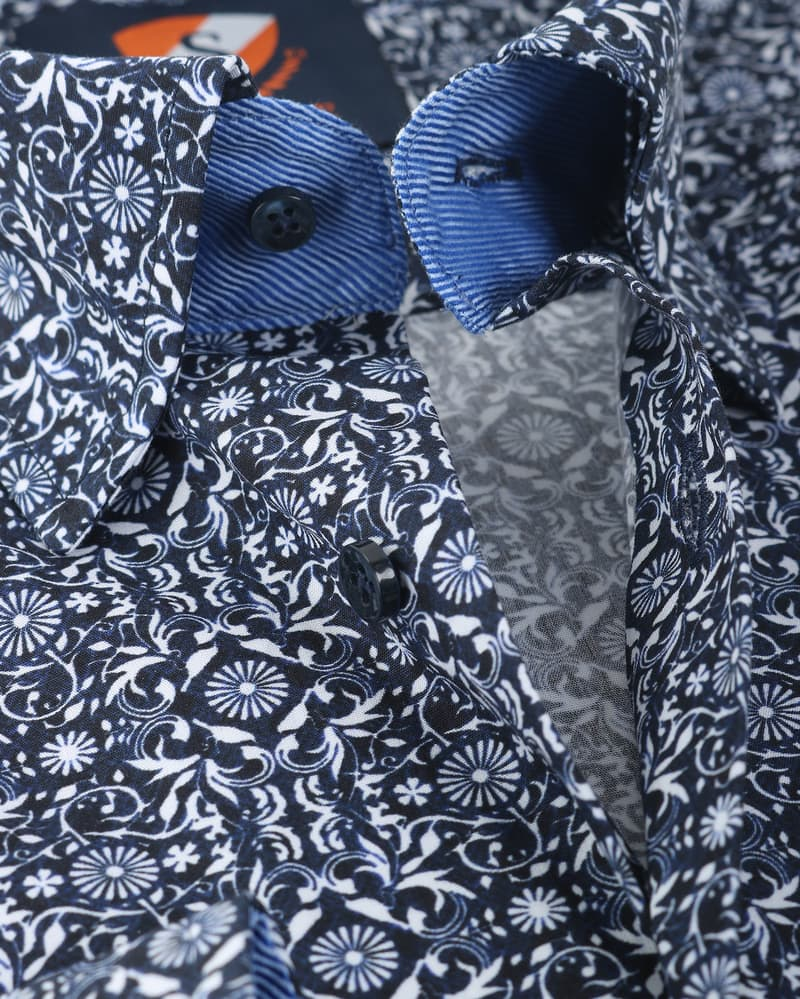 Suitable Overhemd Donkerblauw Print 147-4 foto 1