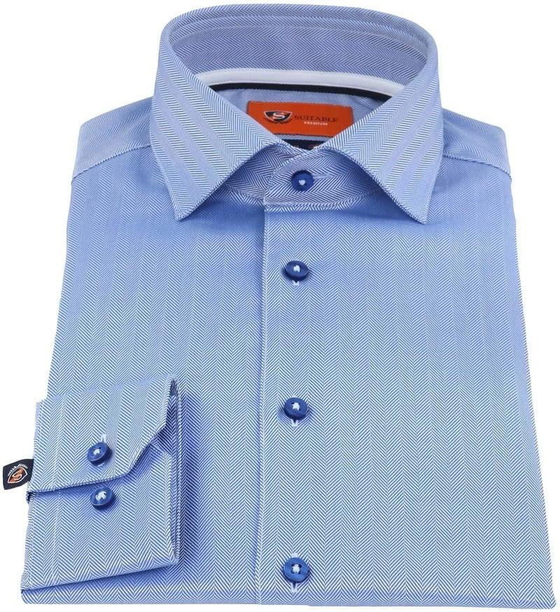 Suitable Overhemd Herringbone Blauw foto 1