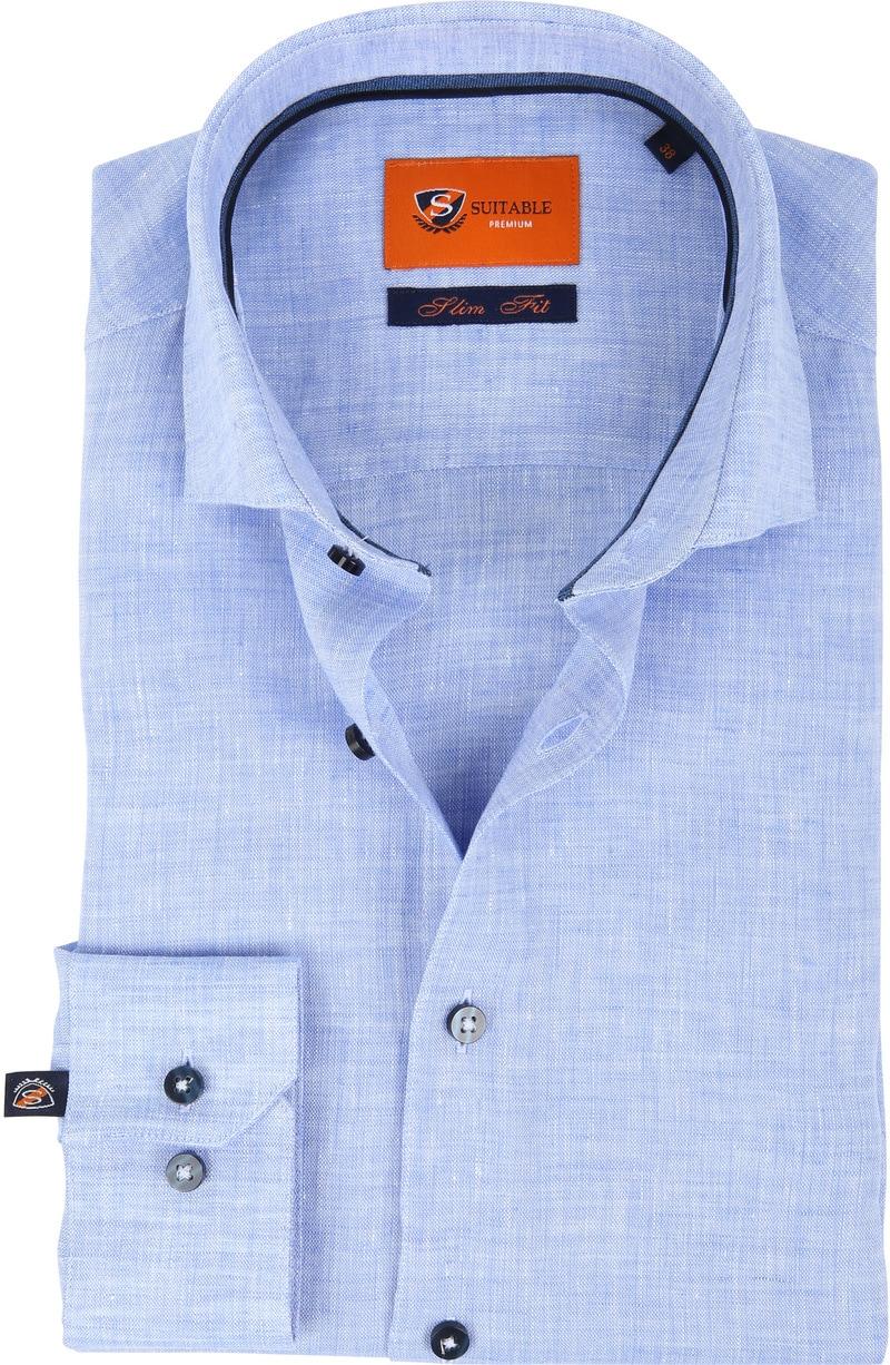 Suitable Overhemd Linnen Blauw D81-12 foto 0