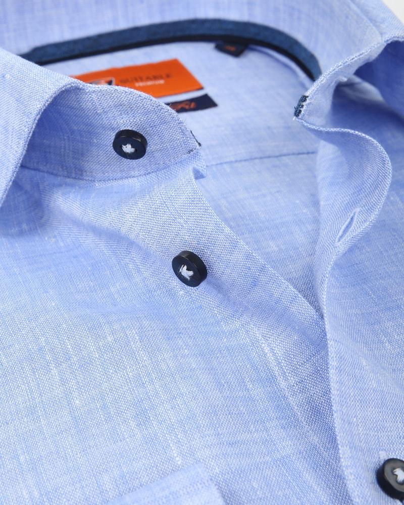 Suitable Overhemd Linnen Blauw D81-12 foto 1