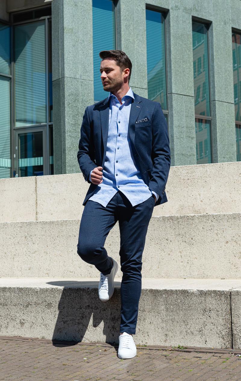 Suitable Overhemd Linnen Blauw D81-12 foto 4