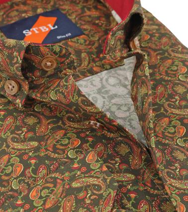 Detail Suitable Overhemd Paisley Groen