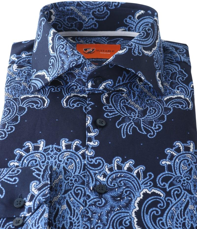 Detail Suitable Overhemd Paisley Print Royal