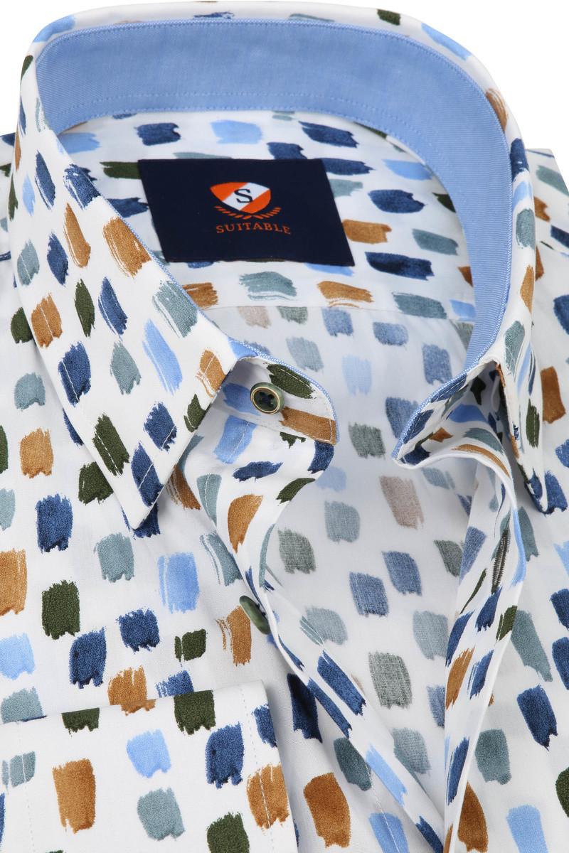 Suitable Overhemd Penseelstreken Blauw Bruin