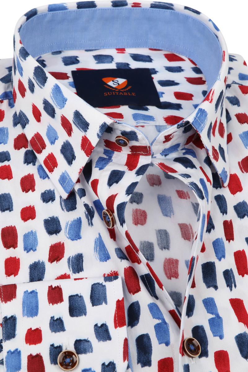 Suitable Overhemd Penseelstreken Blauw Rood