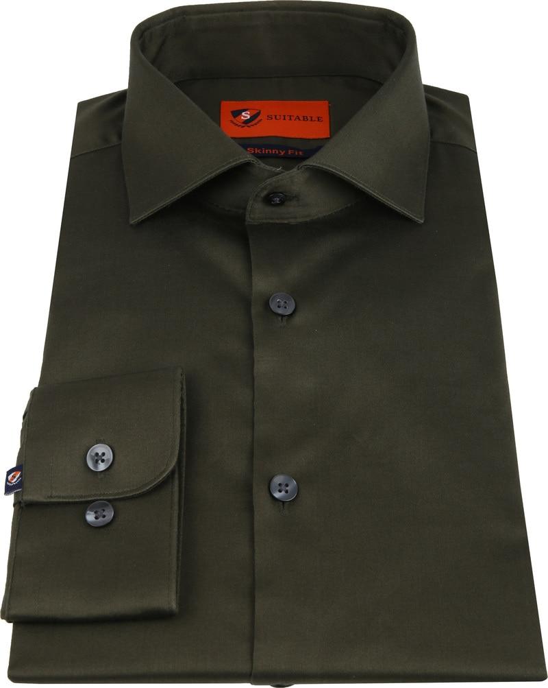 Suitable Overhemd Skinny-Fit Olijfgroen foto 2
