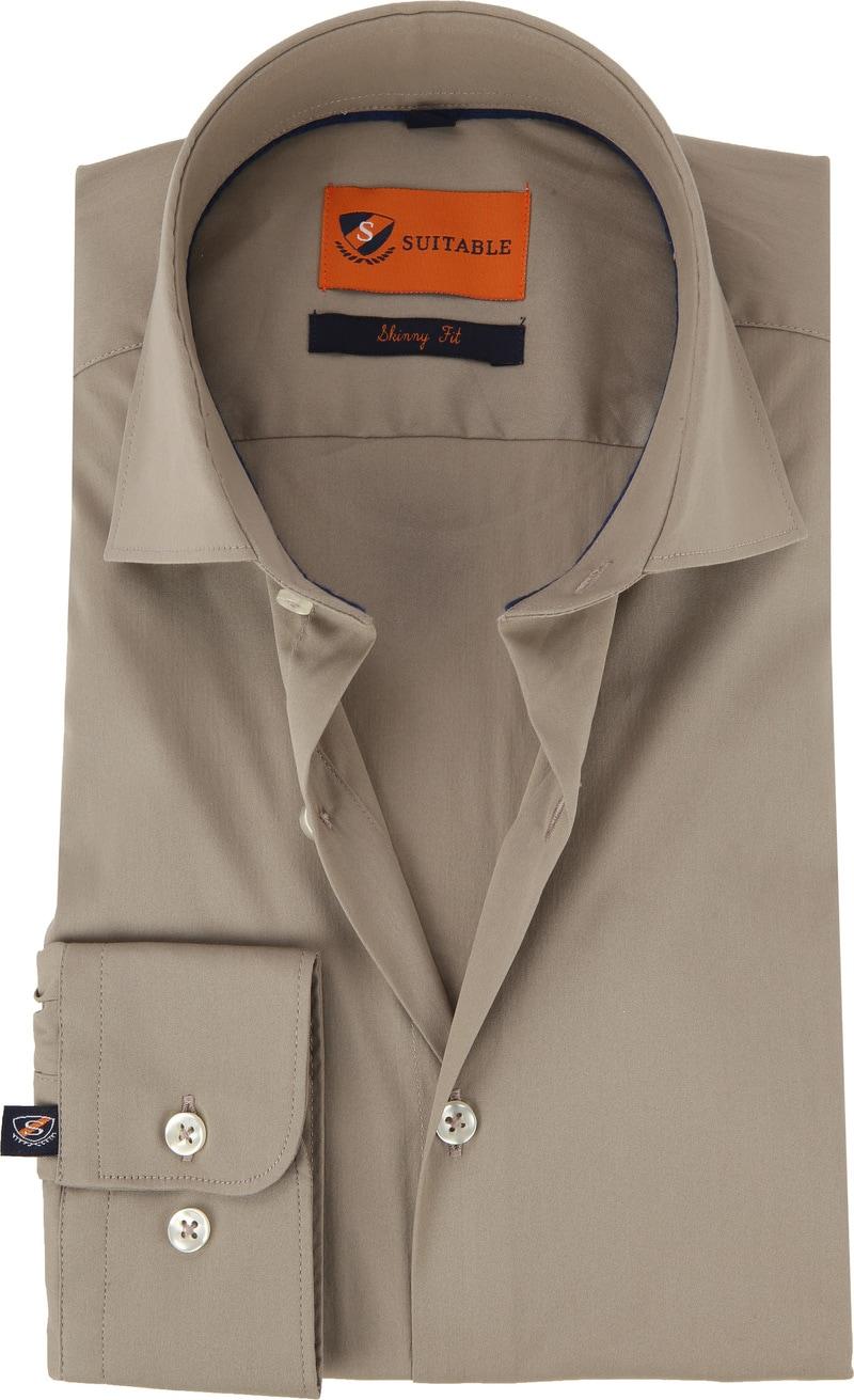 Suitable Overhemd Uni Khaki Skinny foto 0