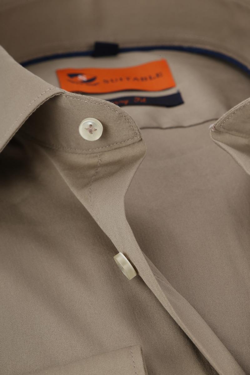 Suitable Overhemd Uni Khaki Skinny foto 1