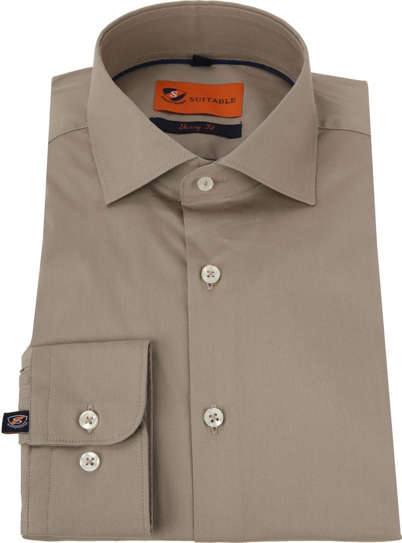 Suitable Overhemd Uni Khaki Skinny foto 2