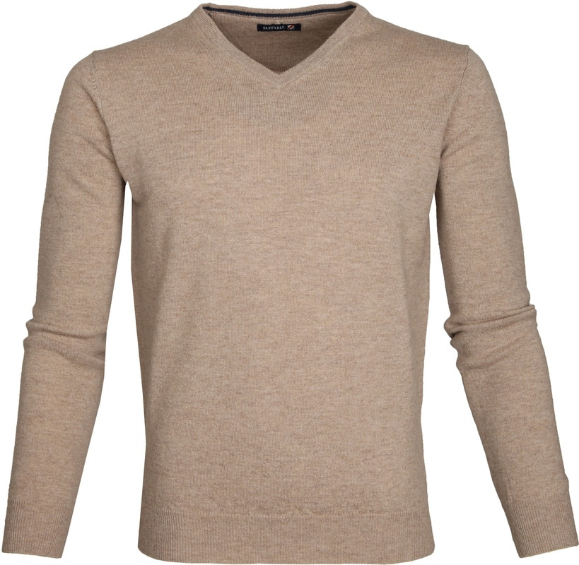 Suitable Pullover Lambswool V-Neck Beige photo 0