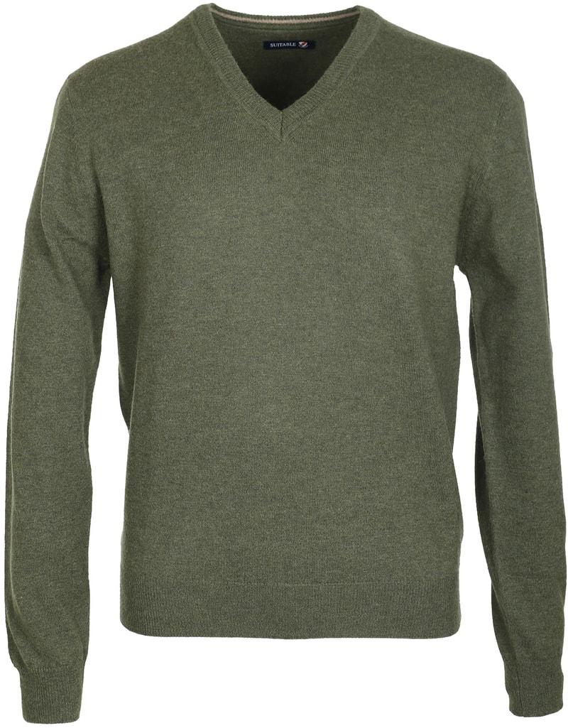 Suitable Pullover Lamswol Legergroen  online bestellen | Suitable