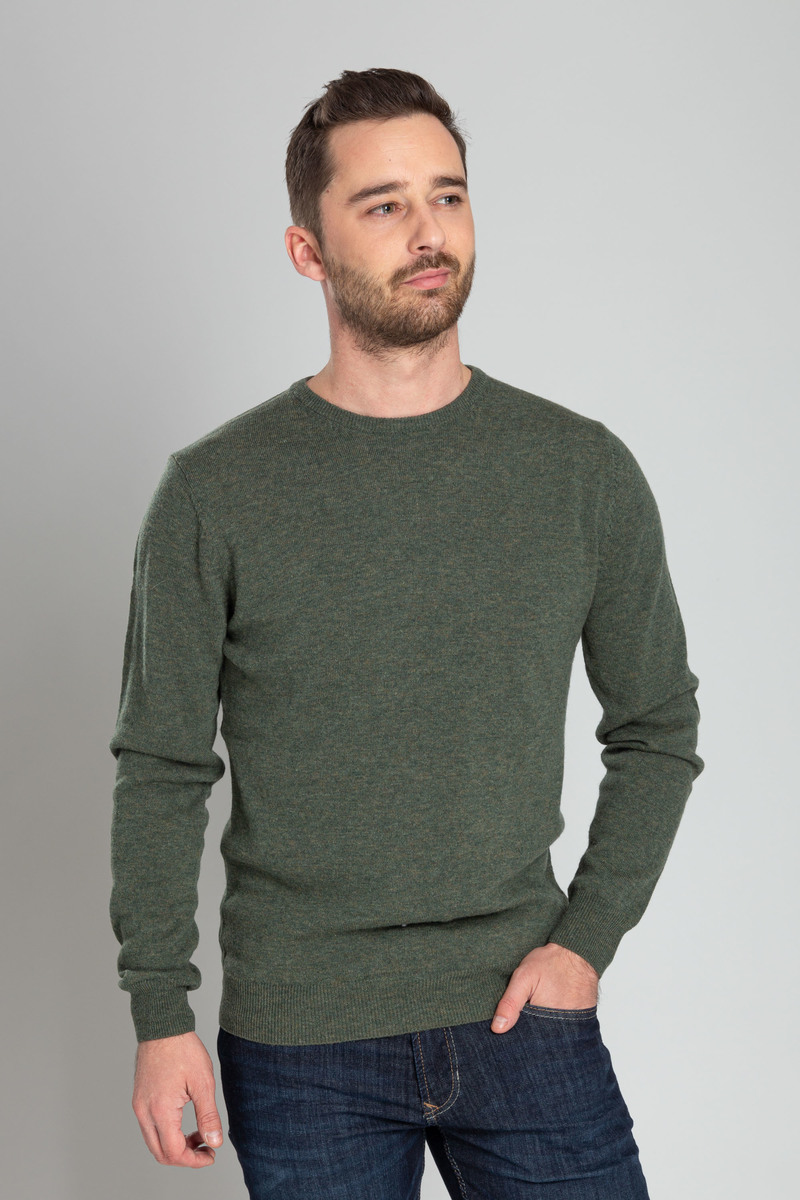 Suitable Pullover O-Hals Lamswol Donkergroen foto 4