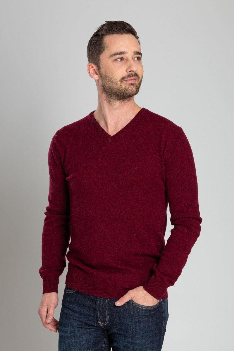 Suitable Pullover V-Hals Lamswol Bordeaux foto 1