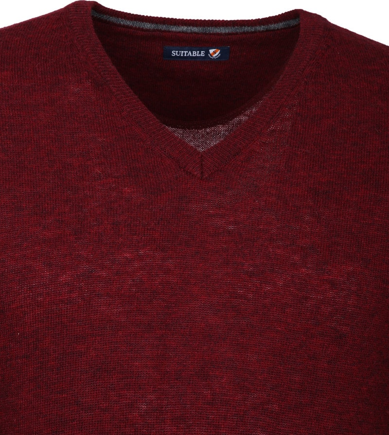 Suitable Pullover V-Hals Lamswol Bordeaux foto 2