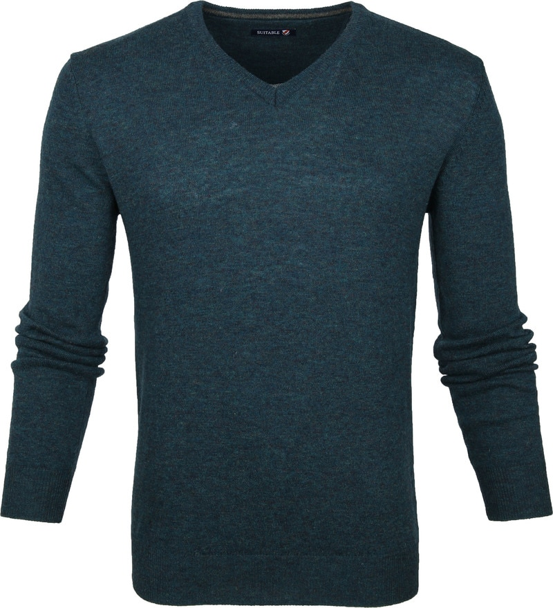Suitable Pullover V-Hals Lamswol Groen foto 0