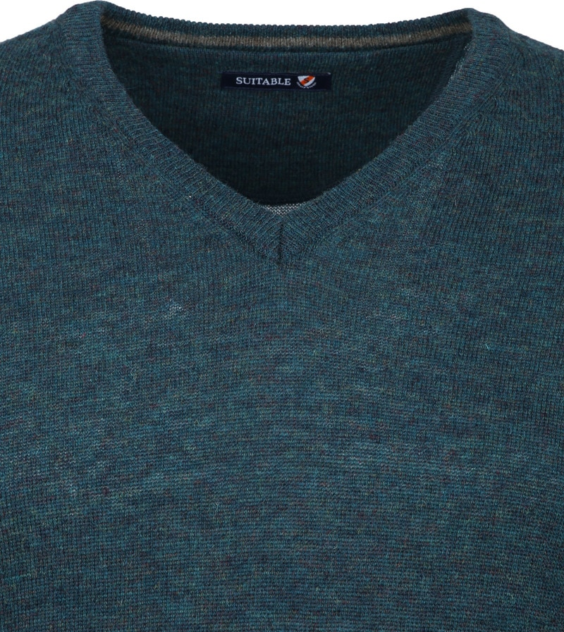 Suitable Pullover V-Hals Lamswol Groen foto 2