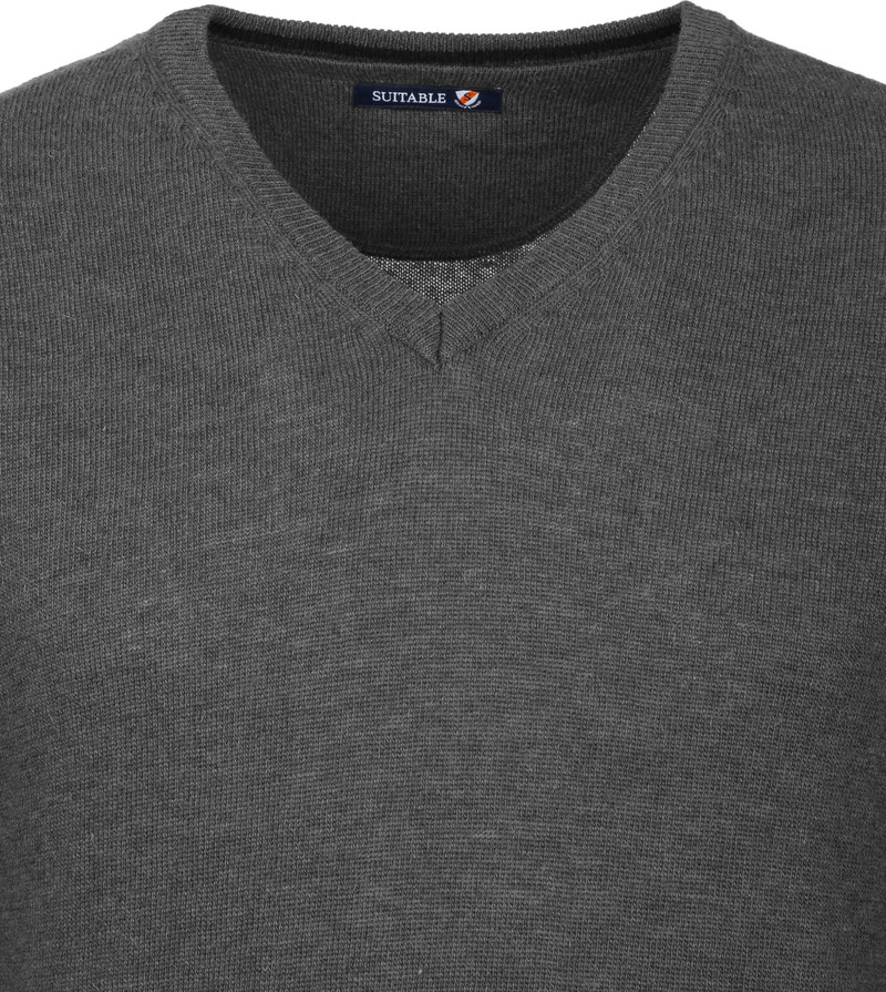 Suitable Pullover V-Neck Lambswool Grey photo 2