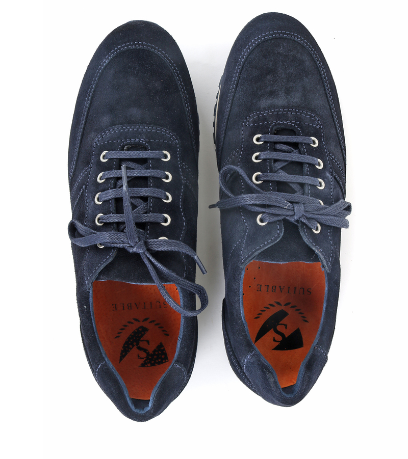Suitable Sneaker Donkerblauw Suede foto 3