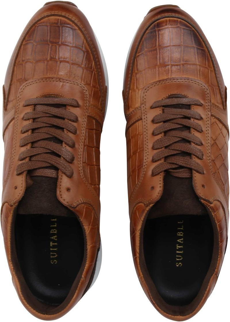 Suitable Sneaker Run Croco Bruin foto 4