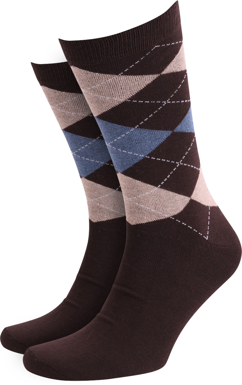 Suitable Socks Checkered Brown photo 0