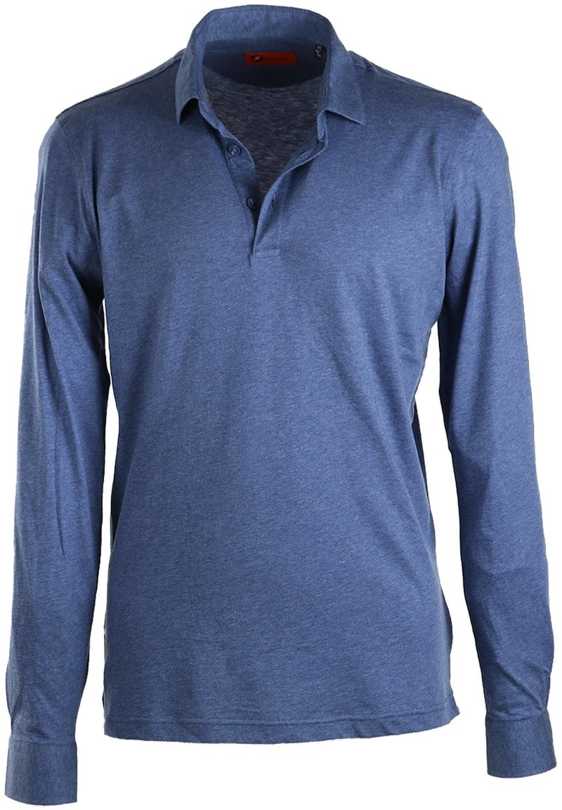 Dagaanbieding herenkleding: Suitable Stretch Longsleeve Polo Blauw  online bestellen | Suitable