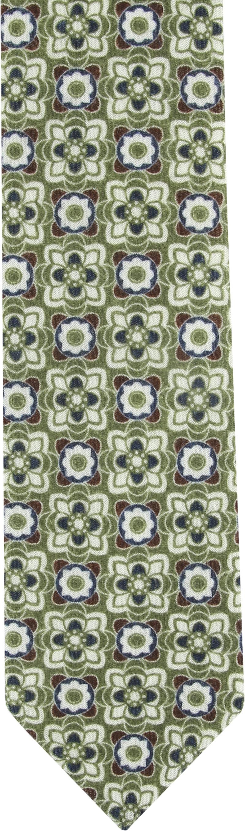 Suitable Tie Silk Green Dessin photo 1