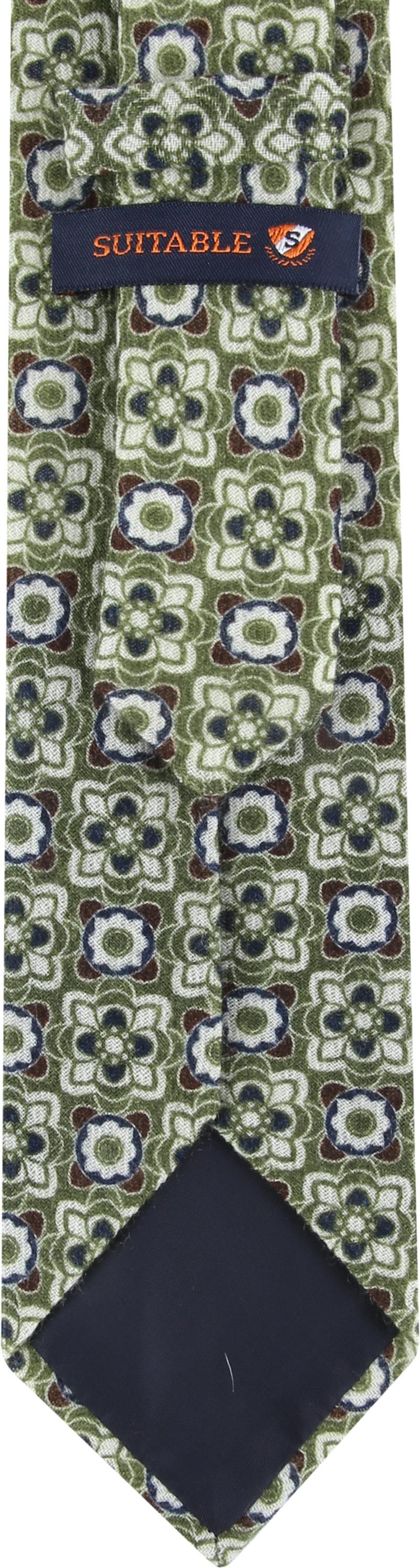 Suitable Tie Silk Green Dessin photo 2