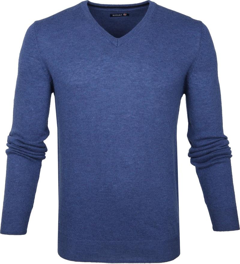 Suitable V-Ausschnitt Lammwolle Blau Foto 0