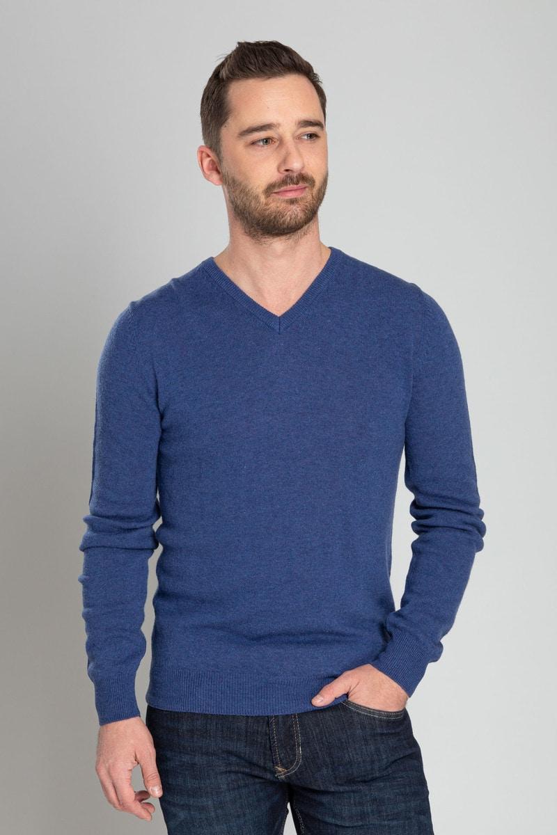 Suitable V-Ausschnitt Lammwolle Blau Foto 1