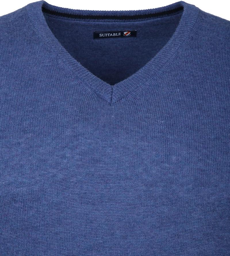 Suitable V-Ausschnitt Lammwolle Blau Foto 2