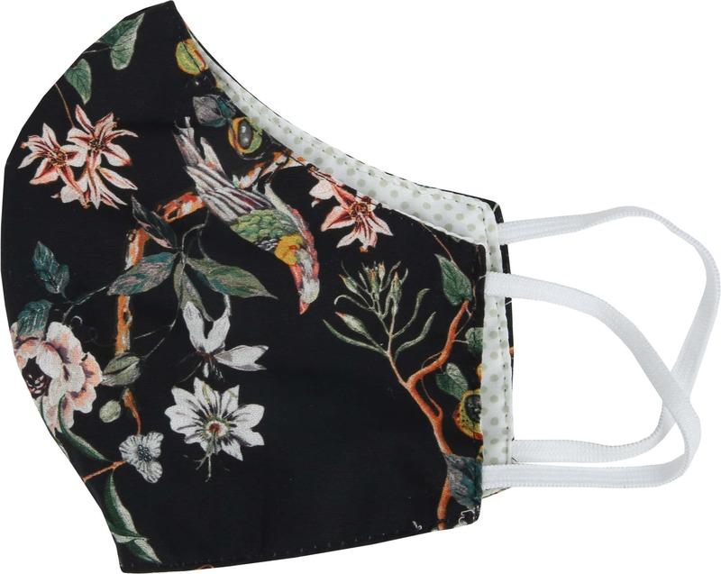 Suitable Waschbare Maske Blumen Schwarz